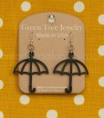 green tree black satin umbrella earrings