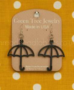 green tree black satin umbrella earrings
