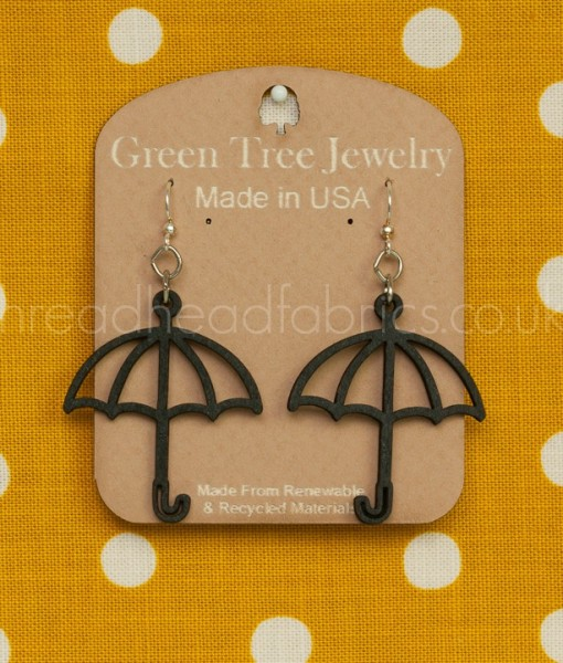 black satin umbrella earrings green tree