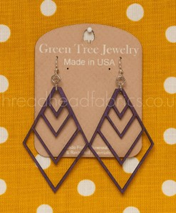 green tree diamond chevron earrings purple