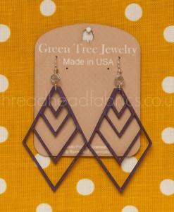 green tree diamond chevron earrings purple