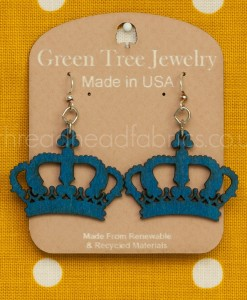 royal blue crown earrings green tree