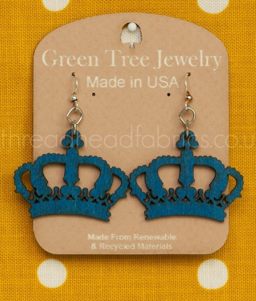 crown earrings in royal blue