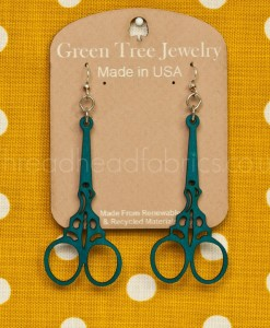 aqua marine green tree scissor earrings