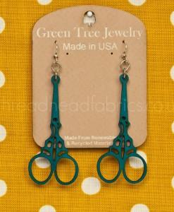 aqua marine green tree scissor earrings