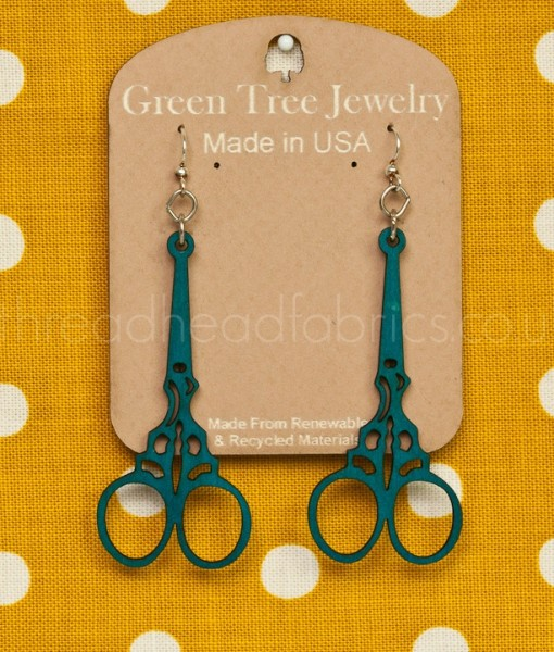 emboidery scissor earrings in aqua marine