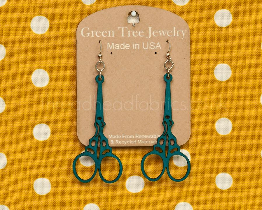 Green Tree Jewlery Embroidery Scissor Earrings Aqua Marine