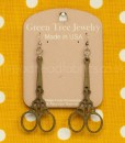 apple green emboirdery scissor earrings