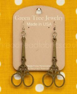 apple green emboirdery scissor earrings