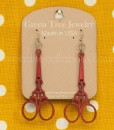 green tree cherry red scissor earrings