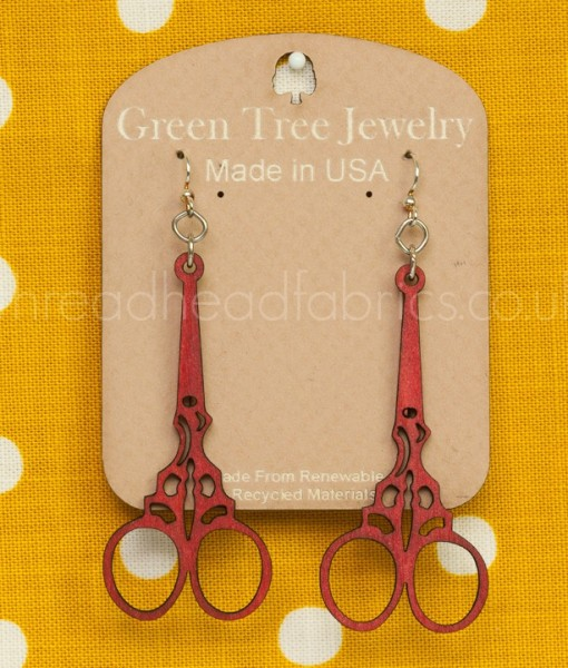 embroidery scissor earrings in cherry red