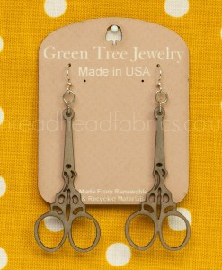 green tree scissor earrings in grey
