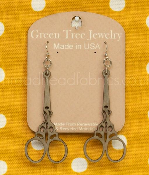 embroidery scissor earrings in grey