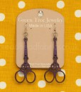 green tree scissor earrings in purple