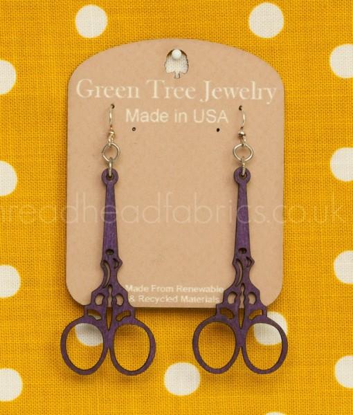embroidery scissor earrings in purple