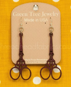 green tree scissor earrings in wine