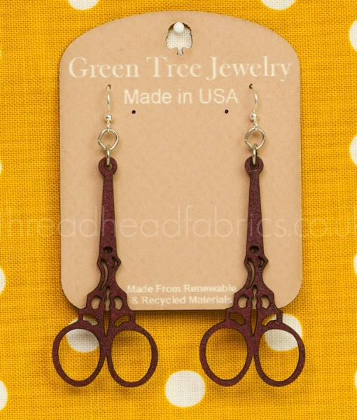 embroidery scissor earrings in wine