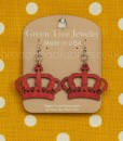 crown earrings in cherry red