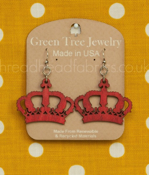 green tree crowns in cherry red