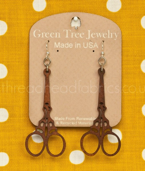 green tree embroidery scissor earrings  cinnamon