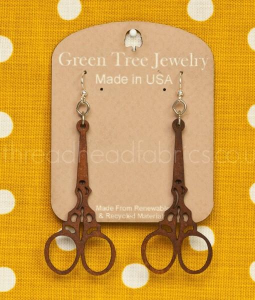 green tree embroidery scissor earrings  cinnamon
