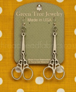 green tree natural wood scissor earrings