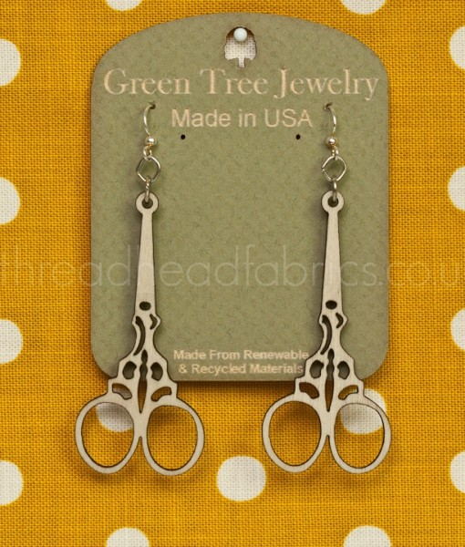 green tree embroidery scissor earrings natural