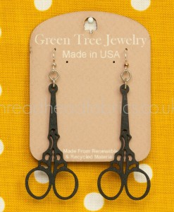 scissor earring in black green tree