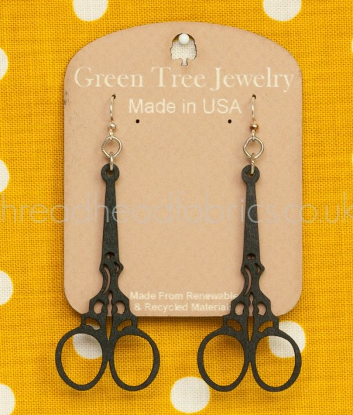 green tree scissor earring in black
