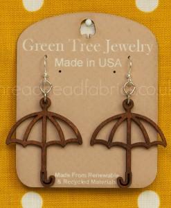cinnamon umbrella earrings green tree