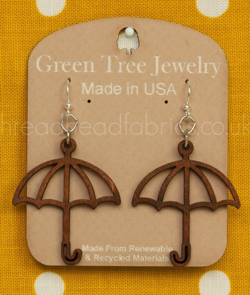 green tree umbrella earrings in cinnamon