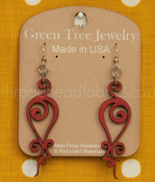 iron loop earrings in cherry red