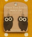 brown little hoot owl earrings