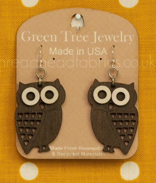 little hoot owl earrings in brown