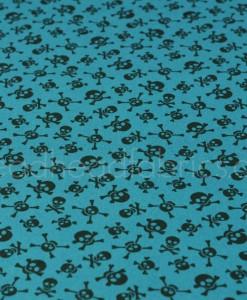 little monsters skulls on blue makower