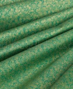 makower metaalic scroll on green folded