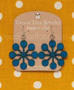 green tree modern snowflake earrings evening