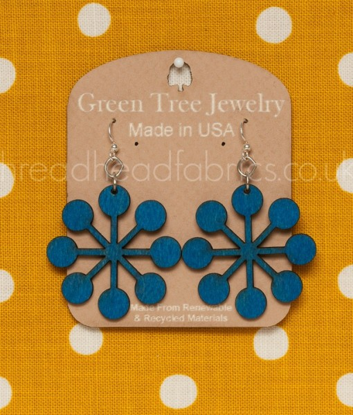 mod snowflake in evening blue earrings