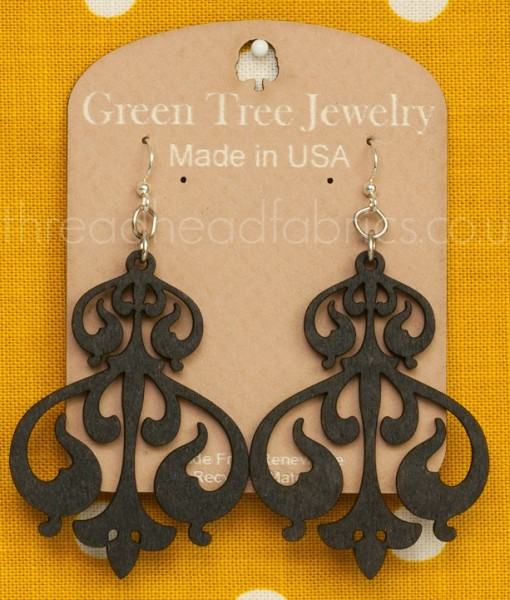 rorschach ink earrings in black satin