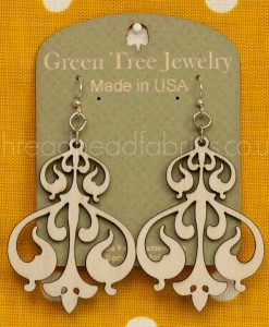 natural wood rorschach ink earrings