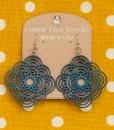 diamond half circle earrings royal blue