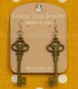 apple green skeleton key wooden earrings