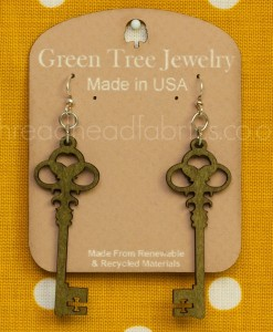 apple green skeleton key wooden earrings
