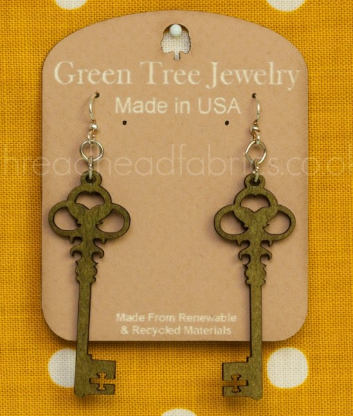 skeleton key earrings in apple green