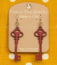 merlot skeleton key earrings green tree