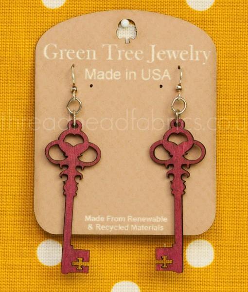 skeleton key earrings in merlot