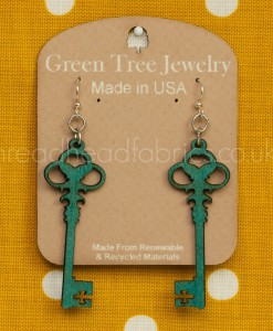teal skelton key earrings green tree