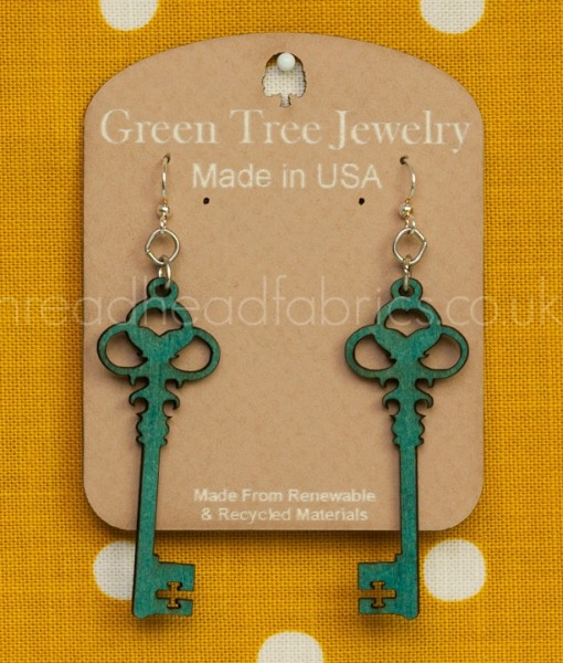 skeleton key earrings in teal