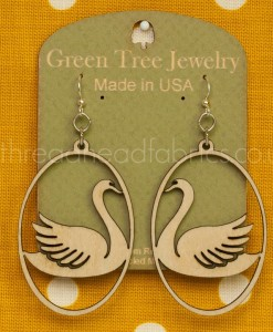 green tree swan in oval earrings