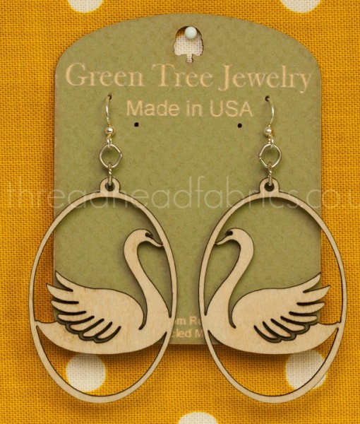 swan in oval earrings in natural